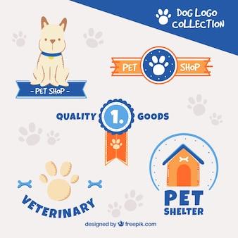 青の要素を持つ犬のロゴのパック