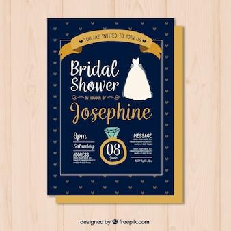 リングやドレスと手描きのブライダルシャワーの招待状
