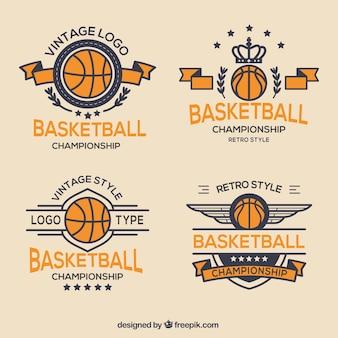 ヴィンテージスタイルバスケットボールバッジのパック