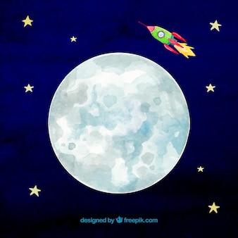 月とロケットで空の背景