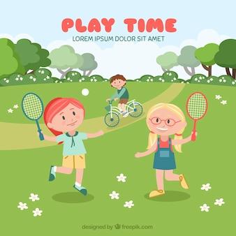 Фон девушек, играющих в теннис в поле
