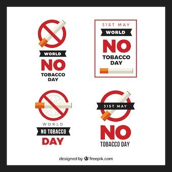 Пакет из четырех мира день без табака этикетки в плоском дизайне