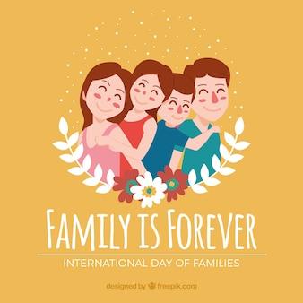 花の飾りのついた素敵な家族の幻想的な背景