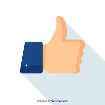 フラットなデザインの装飾親指アップ