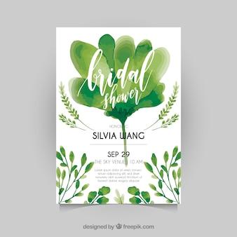 緑の植物と水彩ブライダルシャワーの招待状