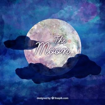 雲と月のブルー水彩画の背景