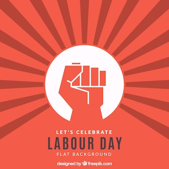 拳を持つ労働日の背景