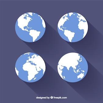 フラットなデザインの地球のセット