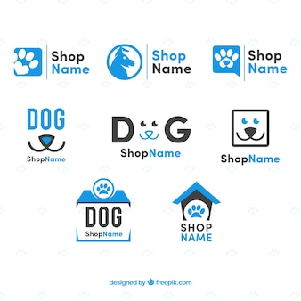 青いトーンのフラットな犬のロゴのセット