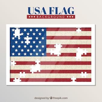 パズルのピースで作られたアメリカの旗の背景