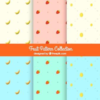 装飾的なフルーツのパターンのセット