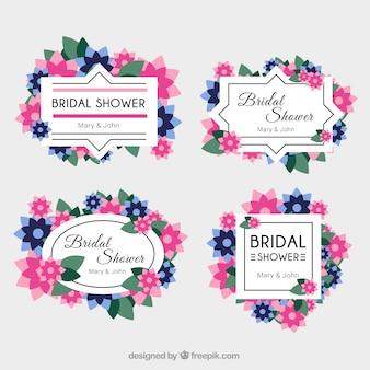 ピンクとブルーの花とグレート結婚式のフレーム