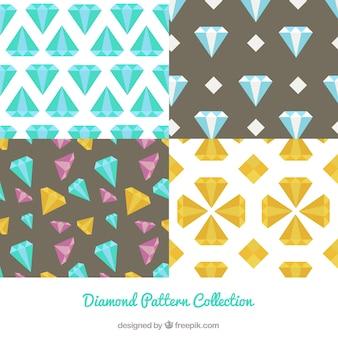 Коллекция из четырех алмазных узоров в плоском дизайне