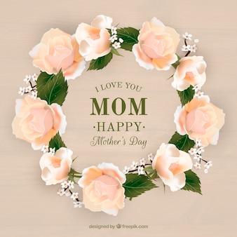 母の日のための現実的な花の花輪