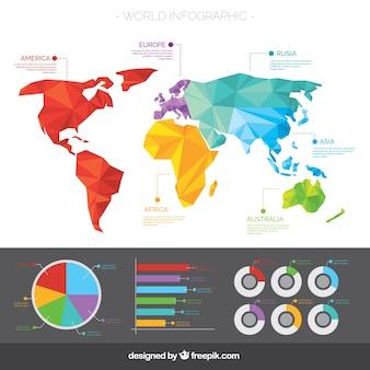 インフォグラフィックスを備えた幾何学的世界地図