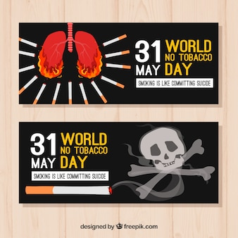水彩の抗タバコの世界の日の旗