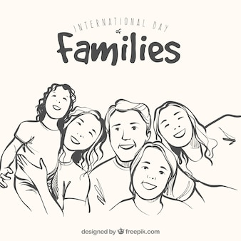 手描きのスタイルで幸せな家族の背景