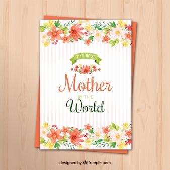 Полосатая поздравительная открытка с акварельными цветами на день матери