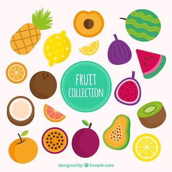 Большая упаковка цветных плодов в плоском дизайне