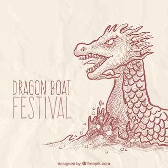 ドラゴンのスケッチの背景