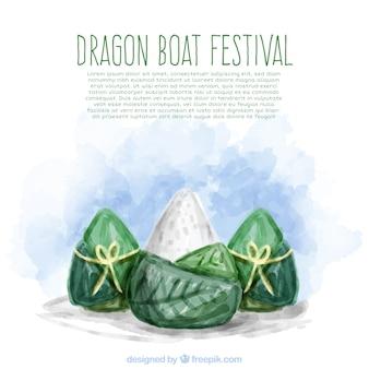 ドラゴンボートフェスティバル水彩フードの背景