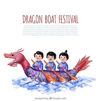 ドラゴンボートフェスティバルの水彩の背景