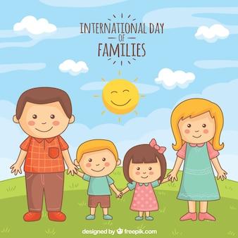 Цветной фон с милой семьи на открытом воздухе