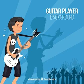 Фон мальчика-рокера с гитарой