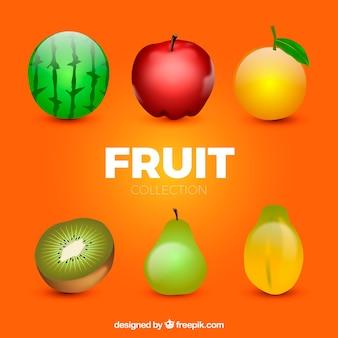 Цветные фрукты в реалистичном дизайне