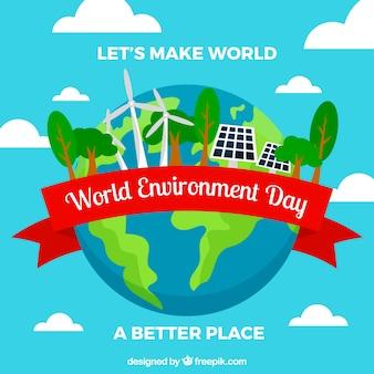 Плоский фон с планеты земля и возобновляемые источники энергии