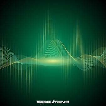 音波と緑色の背景