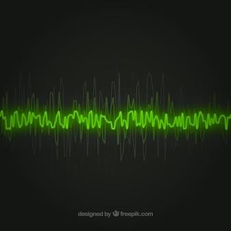 Зеленая звуковая волна на черном фоне