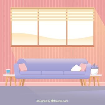 ソファーと室内の窓