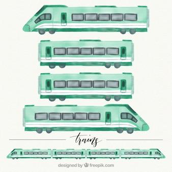 水彩の列車のワゴンのセット