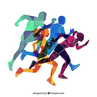 Цветные силуэты бегунов