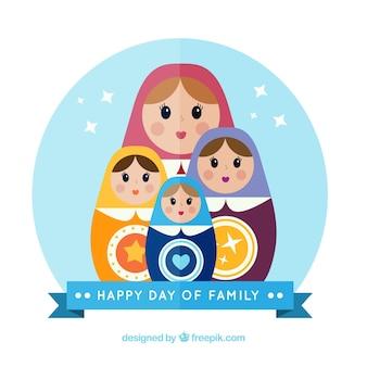 ロシアの人形を持つ家族の幸せな一日