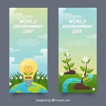 電球と世界環境の日の垂直バナー