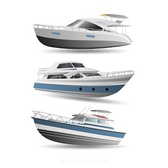 近代的なボートのセット