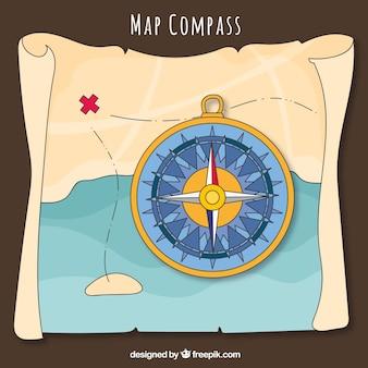 宝の地図の背景にコンパス