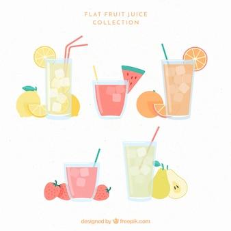 平らなデザインのフルーツジュースのパック