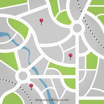 Карта улиц с булавками фона