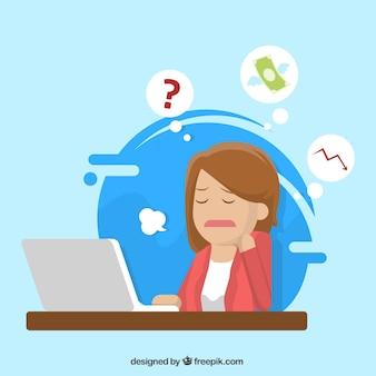 ストレスを受けたビジネス女性のキャラクター