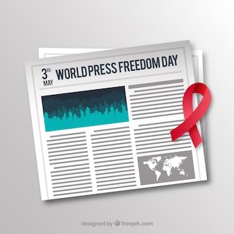 赤いリボンと新聞の背景