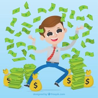 幸せなビジネスマン、お金を投げて