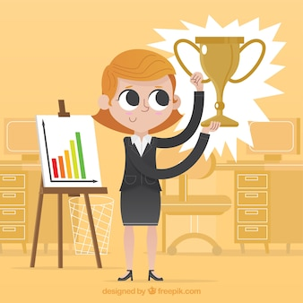 Успешный бизнесмен, подняв трофей