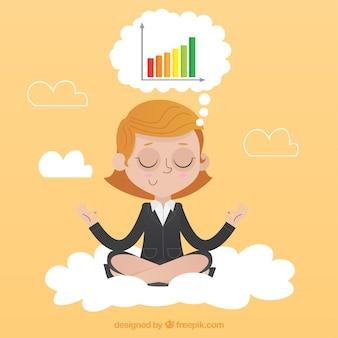 集中している実業家の瞑想