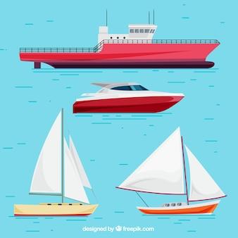 色の詳細を持つ様々なボート