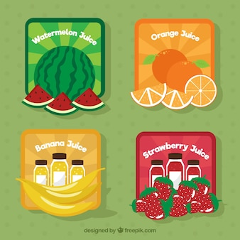 Упаковка цветных плодовых наклеек