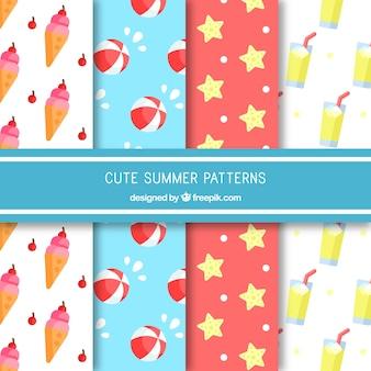 夏の色の付いた装飾模様のフラットなコレクション