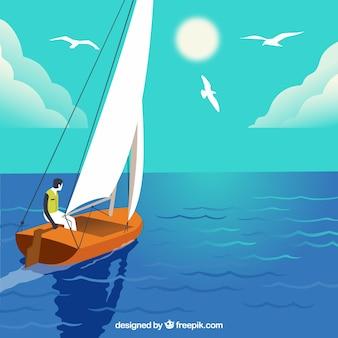 彼のボートに乗っている少年の背景